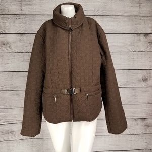 Chebella 3XL Zip Up Quilted Jacket Puffer Brown